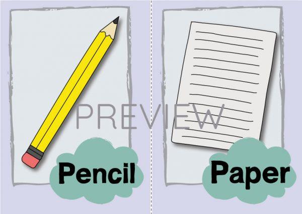 ESL English Pencil Paper Flashcard