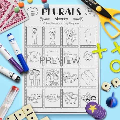 ESL English Plural Nouns Memory Game Activity Worksheet