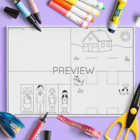 ESL English Pop Up Family Scene Craft Activity Worksheet