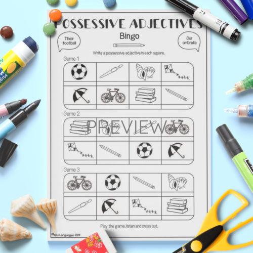 ESL English Possessive Adjectives Bingo Game Worksheet