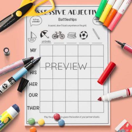 ESL English Possessive Adjectives Battleships Activity Worksheet