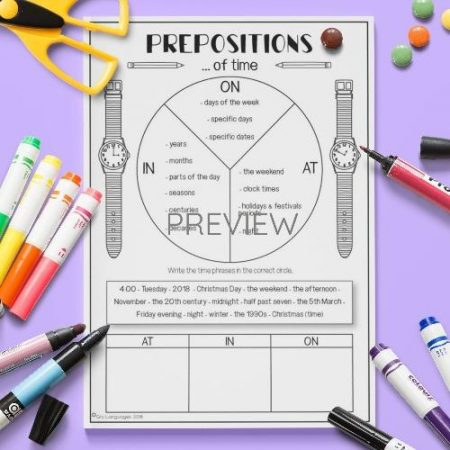 ESL English Prepositions Of Time Activity Worksheet