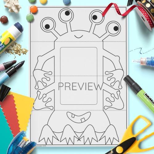 ESL English Monster Body Pull Down Craft Activity Worksheet