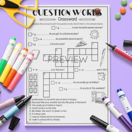 ESL English Question Words Crossword Activity Worksheet