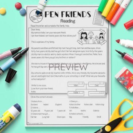 ESL English Pen Friends Reading Activity Worksheet