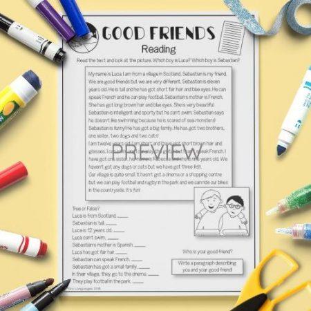 ESL English Good Friends Reading Activity Worksheet