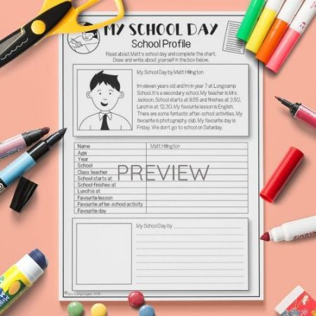 ESL English My School Day Reading Activity Worksheet
