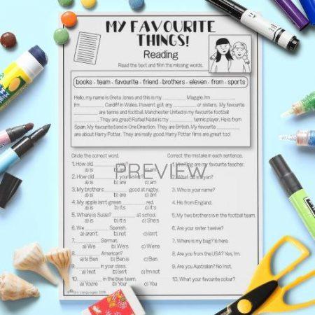 ESL English My Favourite Things Reading Activity Worksheet