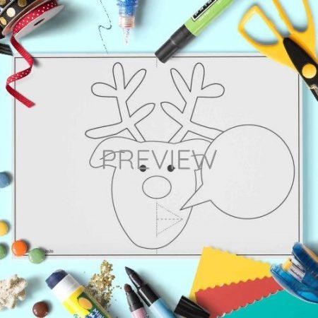 ESL English Christmas Reindeer Pop Up Craft Activity Worksheet
