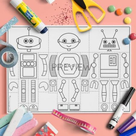 ESL English Robot Body Mix And Match Craft Activity Worksheet