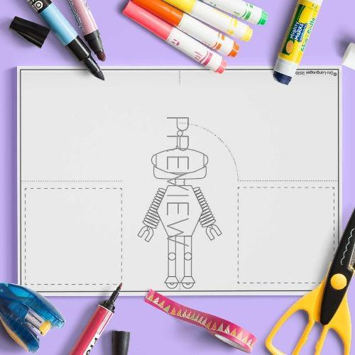 ESL English Robot Body Stand Up Craft Activity Worksheet