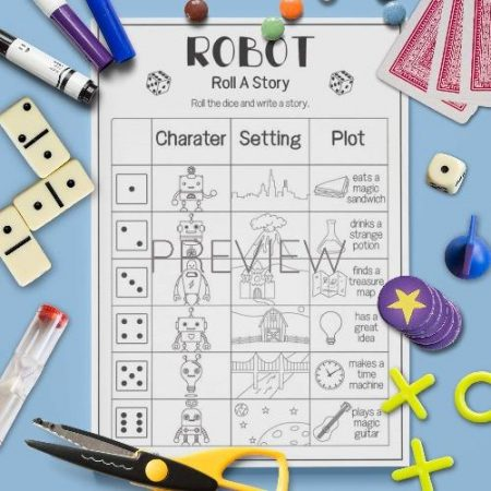 ESL English Roll A Robot Story Game Activity Worksheet