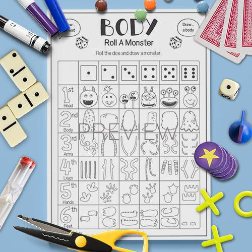 ESL English Roll A monster Body Game Activity Worksheet