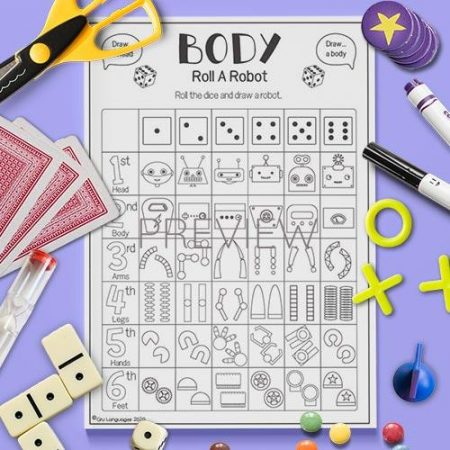 ESL English Robot Roll A Body Game Activity Worksheet