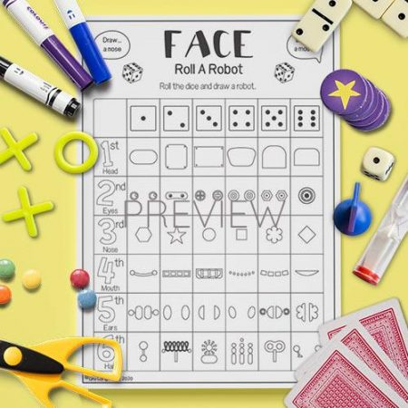ESL English Robot Roll A Face Game Activity Worksheet