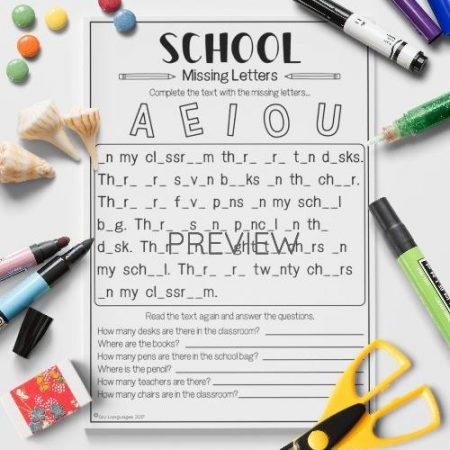 ESL English School Missing Letters Activity Worksheet