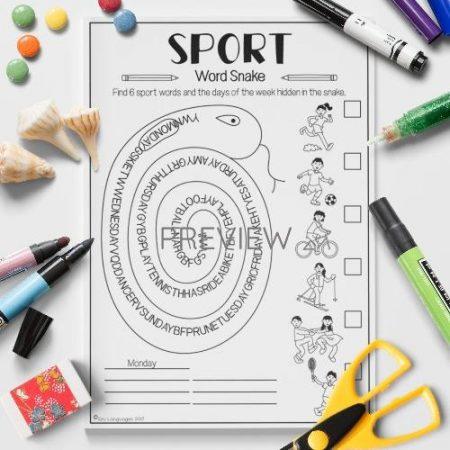 ESL English Sport Word Snake Activity Worksheet