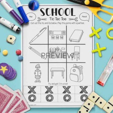 ESL English School Tic Tac Toe Game Activity Worksheet