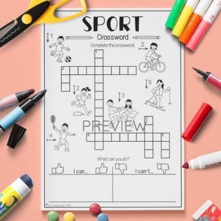 ESL English Sport Crossword Activity Worksheet
