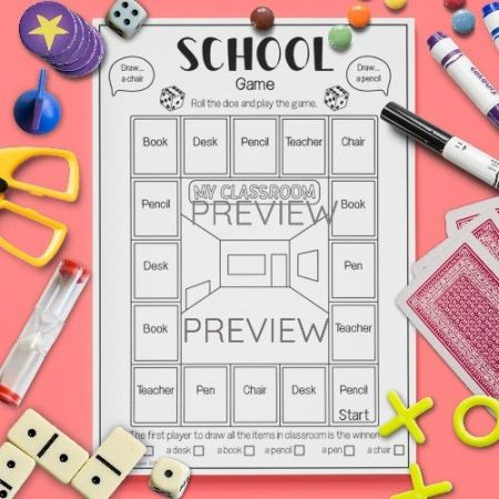 ESL English School Drawing Game Activity Worksheet