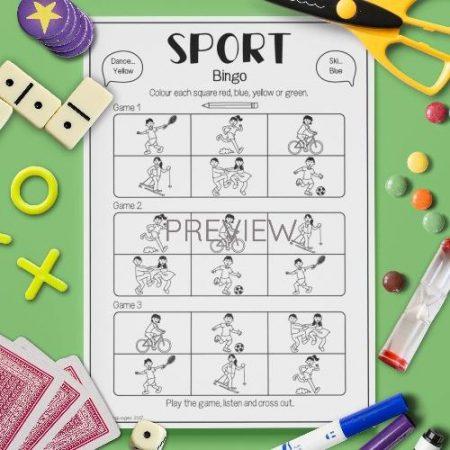 ESL English Sport Bingo Game Activity Worksheet