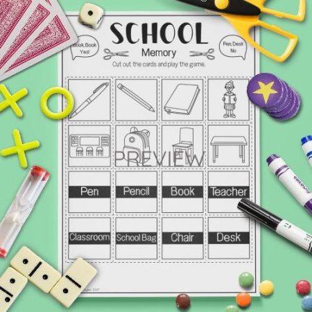 ESL English School Memory Game Activity Worksheet