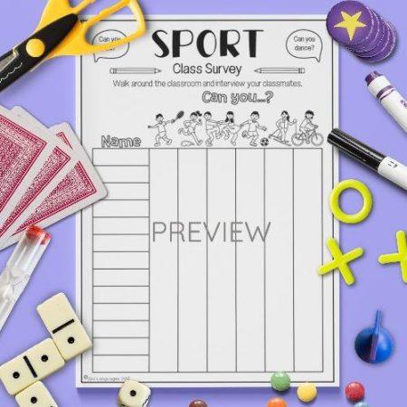 ESL English Sport Classroom Survey Activity Worksheet