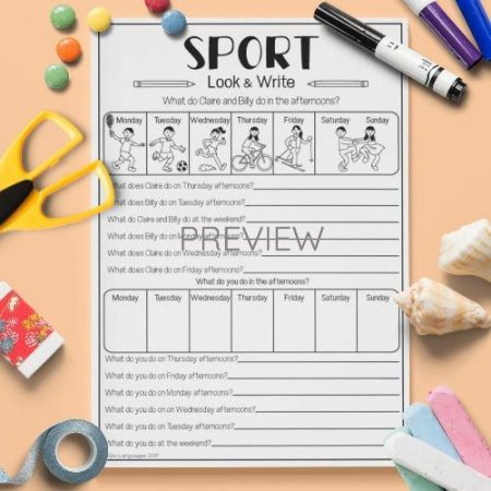 ESL English Sport Look And Write Activity Worksheet