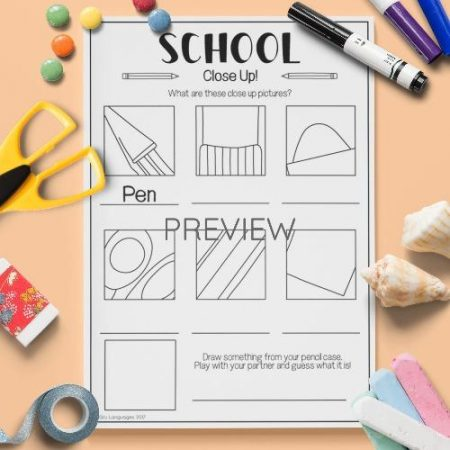 ESL English School Close Up Vocabulary Activity Worksheet