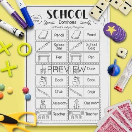 ESL English School Dominoes Activity Worksheet