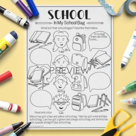 ESL English School In My School Bag Activity Worksheet