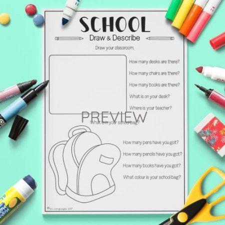 ESL English School Draw And Describe Activity Worksheet