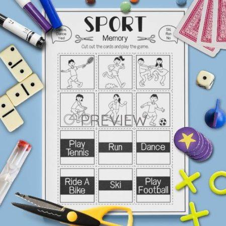 ESL English Sport Memory Game Activity Worksheet