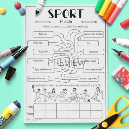 ESL English Sport Puzzle Activity Worksheet