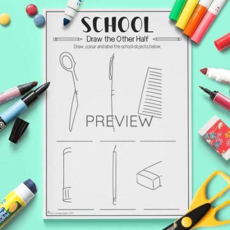 ESL English School Draw The Other Half Activity Worksheet