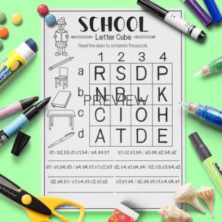 ESL English School Letter Cube Activity Worksheet