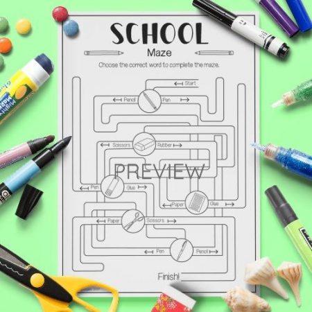 ESL English School Vocabulary Maze Activity Worksheet