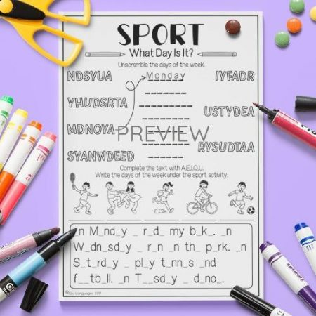 ESL English Sport What Day Is It Activity Worksheet