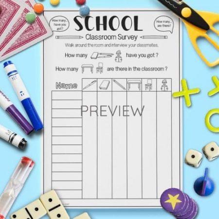 ESL English School Classroom Survey Activity Worksheet