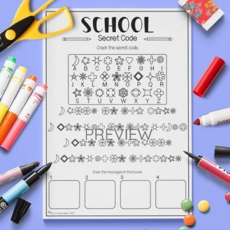 ESL English School Secret Code Activity Worksheet