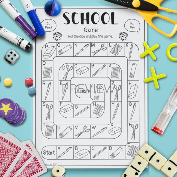 ESL English School Board Game Activity Worksheet