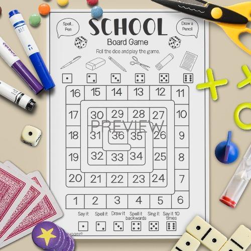 ESL English School Subjects Board Game Activity Worksheet