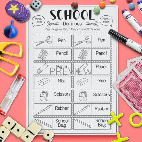 ESL English School Dominoes Game Activity Worksheet