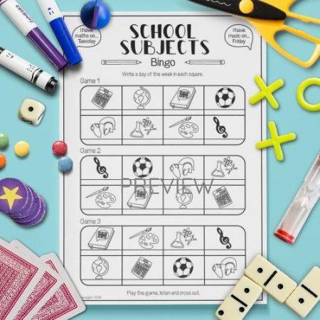 ESL English School Subjects Bingo Game Activity Worksheet