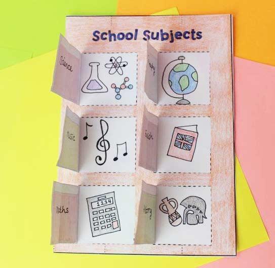ESL English School Subjects Book Craft Activity Worksheet