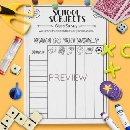ESL English School Subjects Class Survey Activity Worksheet