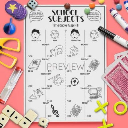 ESL English School Subjects Gap Fill Activity Worksheet
