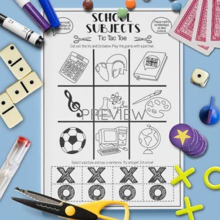 ESL English School Subjects Tic Tac Toe Game Activity Worksheet