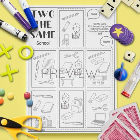 ESL English School Two The Same Card Game Activity Worksheet