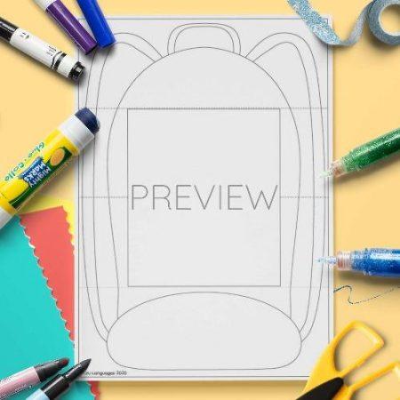 ESL English School Bag Craft Activity Worksheet